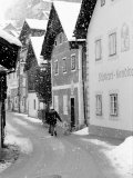 Snowy Street in Hallstat, Austria Photographic Print by Walter Bibikow