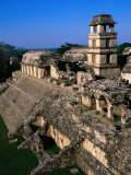 High Angle View of the Palace (El Palacio), Palenque, Mexico Photographic Print by John Elk III