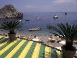 View of Mazzaro Beach from Restaurant, Taormina, Sicily, Italy Photographic Print by Connie Ricca