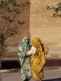 Veiled Muslim Women Talking at Base of City Walls, Morocco Photographic Print by John & Lisa Merrill