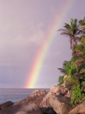 Rainbow over Tropical Beach of Anse Victorin, Seychelles Photographic Print by Nik Wheeler