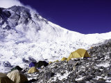 Advanced Base Camp with the Summit of Mt. Everest on Everest North Side, Tibet Photographic Print by Michael Brown
