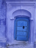 Traditional Moorish-styled Blue Door, Morocco Photographic Print by John &amp; Lisa Merrill