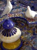 White Doves in Plaza Tiled Fountain, Sevilla, Spain Photographic Print by John & Lisa Merrill