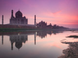 Taj Mahal From Along the Yamuna River at Dusk, India Fotografiskt tryck av Walter Bibikow
