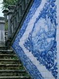 Stone Chairs and Azulejo Tiles, Rococo Palace, Cacela Velha, Portugal Photographic Print by John & Lisa Merrill