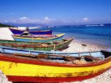 Baharona Fishing Village, Dominican Republic, Caribbean Fotografisk trykk av Greg Johnston