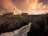 Pointe De St. Mathieu Lighthouse at Dawn, Brittany, France Photographic Print by Walter Bibikow