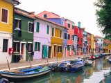 Colorful Building along Canal, Burano, Italy Photographic Print by Julie Eggers