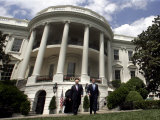 President Bush, Right, and Vice President Dick Cheney Walk to the South Lawn Photographic Print