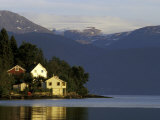 Mountain and Houses Reflecting in Fjord Waters, Norway Photographic Print by Michele Molinari
