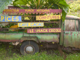 Old Truck with Spice Signs, Basse-Terre, Guadaloupe, Caribbean Photographic Print by Walter Bibikow