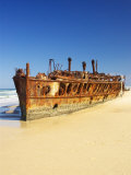 Wreck of the Maheno, Seventy Five Mile Beach, Fraser Island, Queensland, Australia Photographic Print by David Wall