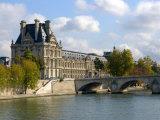 Pont Royal and the Louvre Museum, Paris, France Fotografisk tryk af Lisa S. Engelbrecht