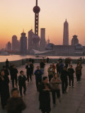 Tai-Chi on the Bund, Oriental Pearl TV Tower and High Rises, Shanghai, China Photographic Print by Keren Su