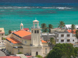 Town View and Church on Marie-Galante Island, Guadaloupe, Caribbean Photographic Print by Walter Bibikow