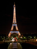 Eiffel Tower at Night, Paris, France Photographic Print by Walter Bibikow