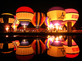 People Watch Hot Air Balloons as They Reflect off the Barigui Lake Photographic Print