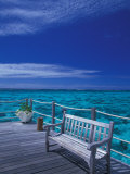 Pier and Bench at Reef, Moorea, French Polynesia, South Pacific Photographic Print by Walter Bibikow