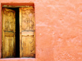 Carved Door and Painted Facade at Monastery of Santa Catalina, Arequipa, Peru Photographic Print by Jeffrey Becom