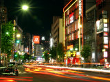Moving Lights on Street of Roppongi at Night, Tokyo, Japan Fotografisk tryk af Greg Elms