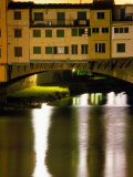 Ponte Vecchio and Arno River at Night, Florence, Italy Photographic Print by Martin Moos