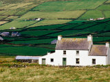 Overhead of Farmhouse and Valley with Drystone Walled Fields, Skellig Ring, Ireland Photographic Print by Richard Cummins