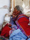 Profile of Woman in Traditional Embroidered Dress at Mass, Yanque, Peru Reprodukcja zdjęcia autor Jeffrey Becom