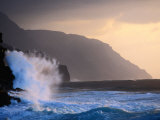 Surf Pounding Against Na Pali Coastal Cliffs at Dawn, United States of America Photographic Print by Philip Smith