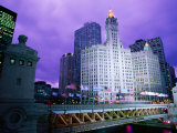 Michigan Avenue Bridge and Wrigley Building at Dusk, Chicago, United States of America Photographic Print by Richard Cummins