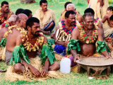 Men Seated for Ceremony, Fiji Photographic Print by Peter Hendrie
