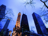 Historic Water Tower and Skyscrapers at Dusk, Chicago, United States of America Photographic Print by Richard Cummins