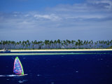 Windsurfer, Plantation Island, Fiji Photographic Print by Peter Hendrie