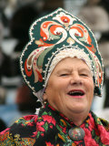 Portrait of Singer in Traditional Costume at Vernisazh Market, Moscow, Russia Photographic Print by Jonathan Smith