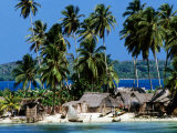 Tropical Island Village on Beach, Panama Photographie par Wayne Walton