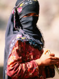 Portrait of Muslim Woman in Headscarf, Wadi Surdud, Yemen Photographic Print by Frances Linzee Gordon