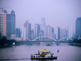 Ferry Crossing Pearl River at Dusk, Guangzhou, China Photographic Print by Greg Elms