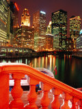 Chicago River and City Buildings at Night from Michigan Avenue Bridge, Chicago, USA Photographic Print by Richard Cummins