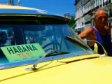 Man with 1950&#39;s Taxi, Havana, Cuba Photographic Print by Christopher P Baker