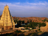 Overhead of Virupaksha Temple, Hampi Bazaar and Surrounding Hills from Hemakuta Hill, Hampi, India Photographic Print by Peter Ptschelinzew