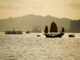 Duk Ling Junk Sailing on Hong Kong Harbour, Hong Kong, China Photographic Print by Greg Elms