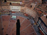 Bustle of Il Campo From Top of Torre Del Mangia, with Tower Shadow Across Square, Siena, Italy Photographic Print by Glenn Beanland