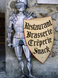 Knight in Armour Restaurant Sign in Medieval Walled City, Carcassonne, France Photographic Print by Dallas Stribley
