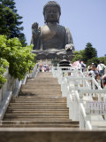 Steps Leading up to Tian Tan Buddha Statue, Hong Kong, China Fotografisk tryk af Greg Elms
