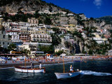 Houses Terraced into Rugged Amalfi Coastline, Boats in Foreground, Positano, Italy Photographic Print by Dallas Stribley