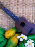 Green Bananas, Papayas, Plumeria and Ukulele, U.S.A. Photographic Print by Ann Cecil