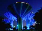Floodlit Water Towers on Sixth Ring Road, Al Farwaniyah, Kuwait Photographic Print by Mark Daffey