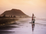 Blocart (Land Yacht) Cruising on Beach, Mt. Maunganui, New Zealand Photographic Print by Anders Blomqvist