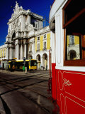 Tram on Praca De Commercio, Lisbon, Portugal Photographic Print by Izzet Keribar