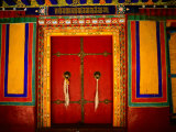 Decorated Doorways, Norbulingka (Dalai Lama's Summer Palace), Lhasa, China Stampa fotografica di Anthony Plummer